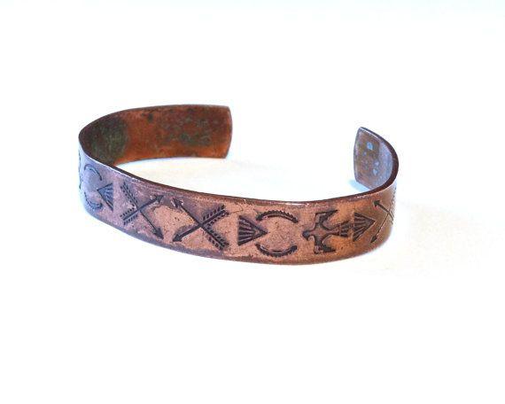Stamped. Handcrafted genuine copper adjustable cuff bracelet