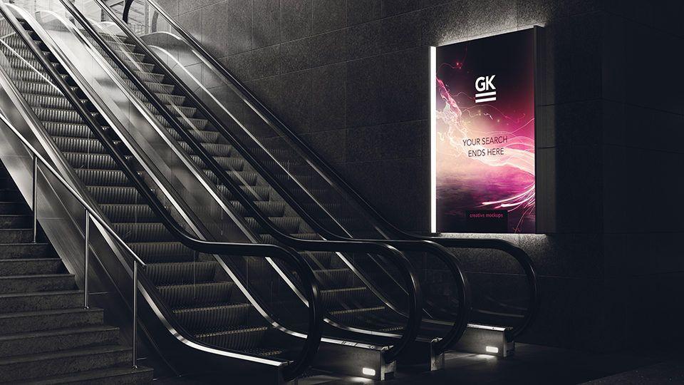 3d Animated Escalator Lightbox Mock Up 3d Animation