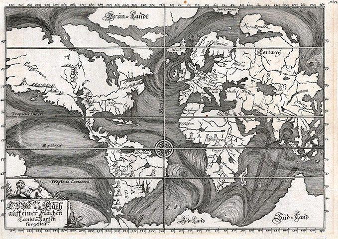 Credit: Beautiful Science/British Library Early Ocean Currents (Die Ebbe und Fluth auff einer Flachen Landt-Karten fürgestelt, by Eberhard ...
