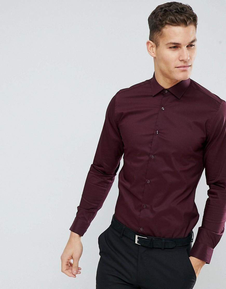 89229d445 #Valentines #AdoreWe #ASOS - #MOSS BROS Moss London Extra Slim Smart Shirt  With Stretch - Red - AdoreWe.com