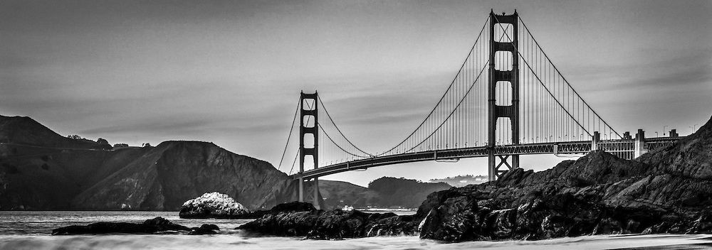 The golden gate bridge in black and white as seen from marshall beach in san francisco california