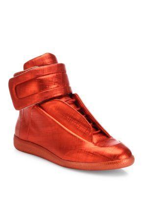 e87eb047de7 MAISON MARGIELA Future Hi Saffiano Metallic Leather Sneakers.   maisonmargiela  shoes  sneakers