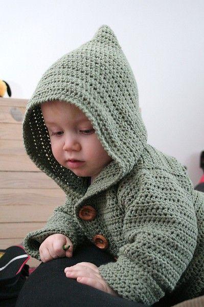 Adorable Baby Hoodie Pattern | Häkeln | Pinterest | Häkeln, Häckeln ...