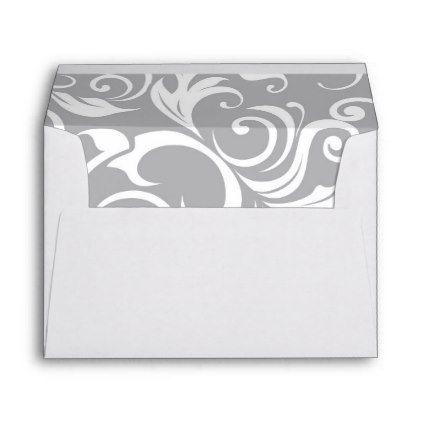 Elegant Silver Gray Floral Wallpaper Swirl Pattern Envelope - sample small envelope template
