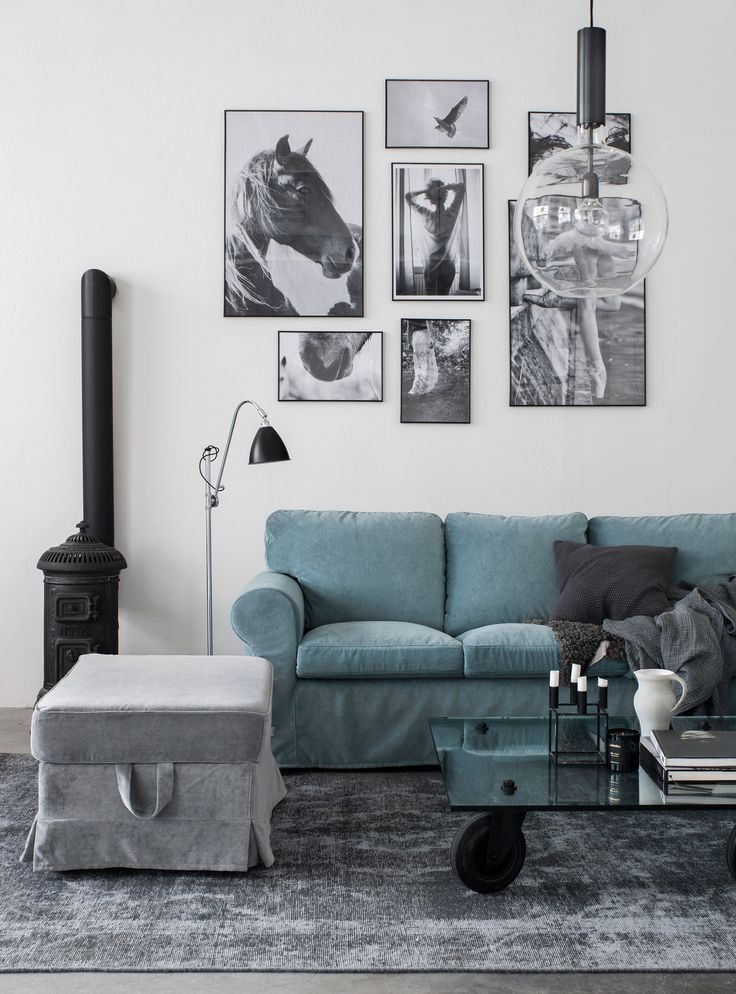 Scandinavian Inspired Living Room With Industrial Style Images Blue Velvet Sofa Ikea Ektorp Sofa With A Bemz
