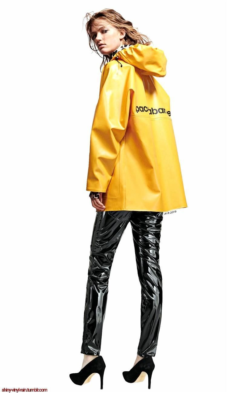 Vinyl Rain Rain Wear Yellow Raincoat Shiny Clothes