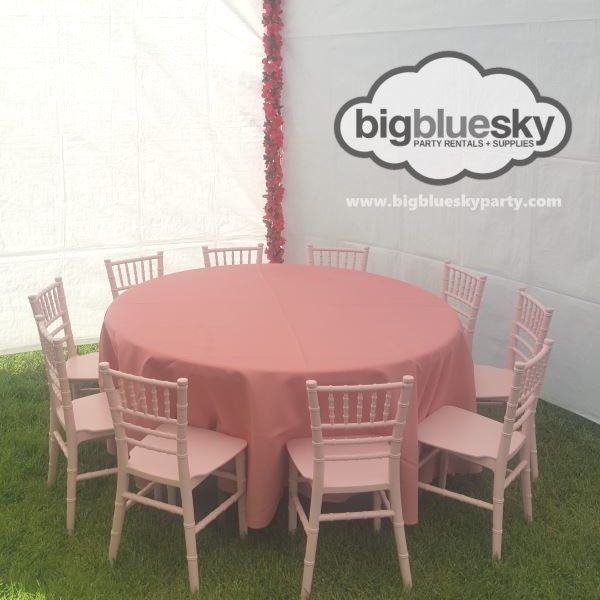 kids pink chiavari chairs and round tables for rent in los angeles