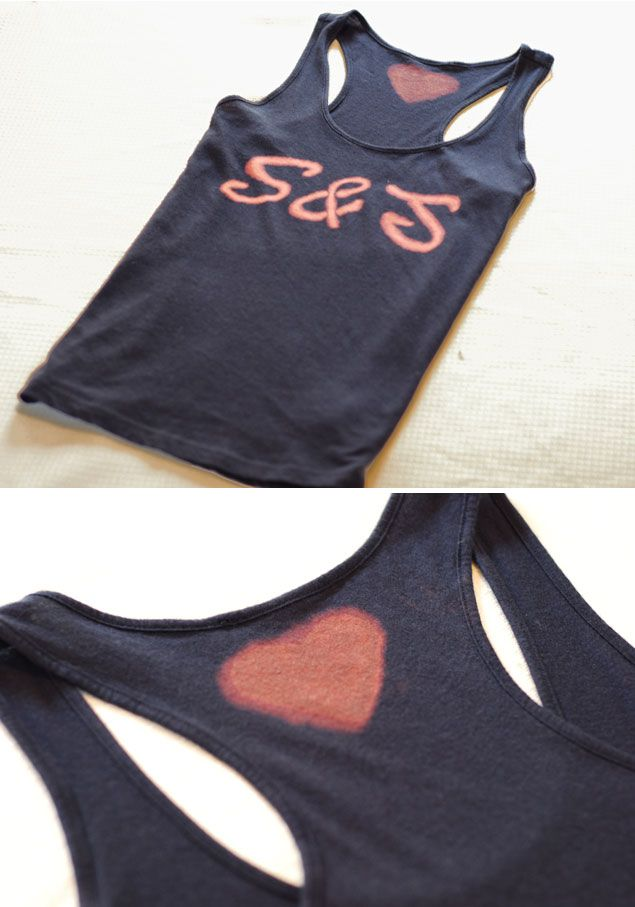 Cute bleach pen designs on tank tops and/or t-shirts  | DIY