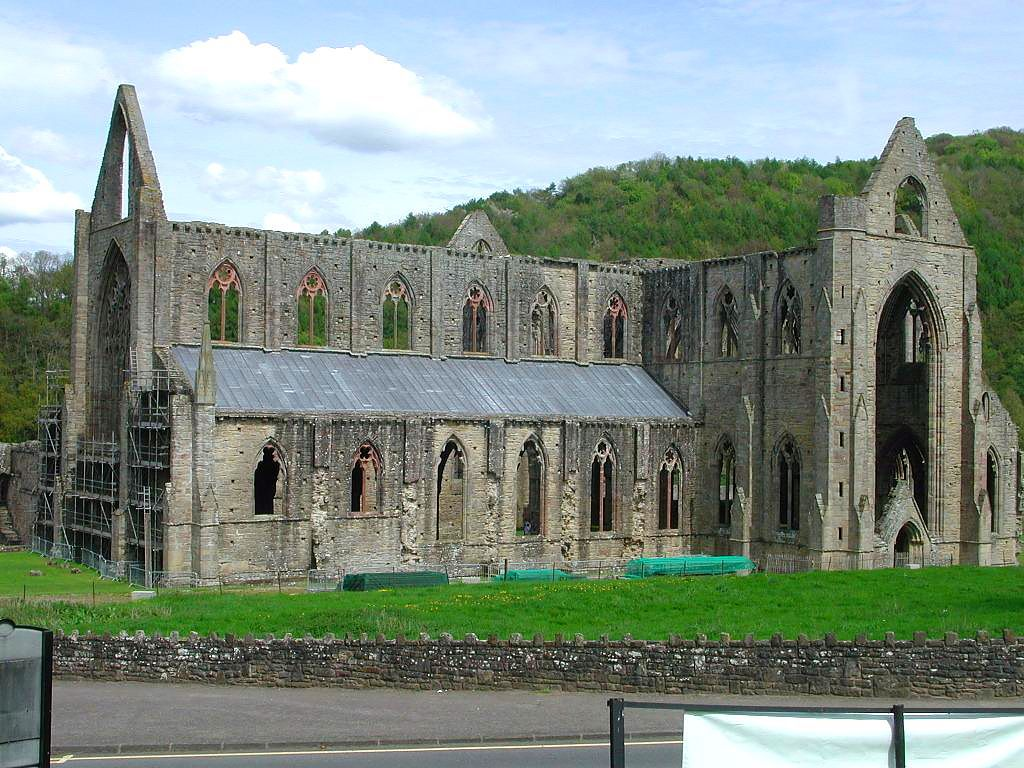 Tintern Abbey.  Most famous church abandoned when King Henry expelled the Roman Catholic church from England and created the Church of England in the early 1500s. A large, romantic gothic church, the subject of a lot of writing/poetry in the 1800s.
