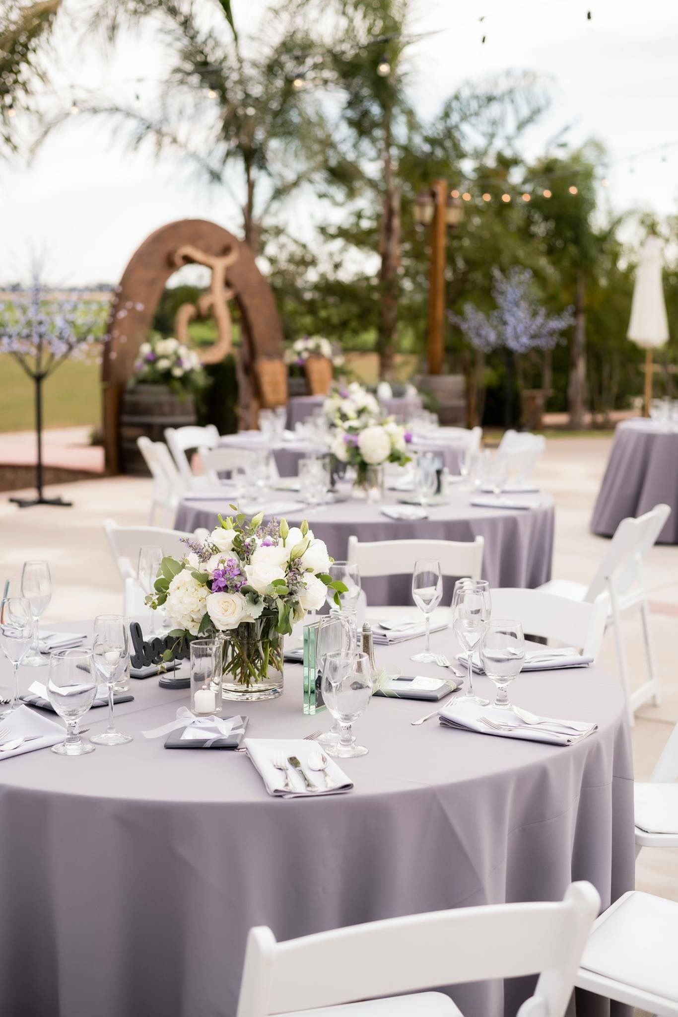 70 best Yellow, Grey & White Weddings images on Pinterest ... |Wedding Grey Table Linens
