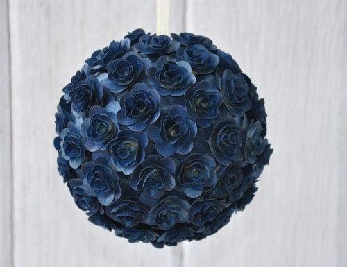Navy Blue Flower Pomander Church Aisle Decor Kissing Ball