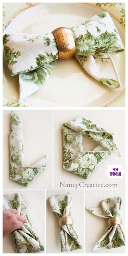 20+ Best DIY Napkin Folding Tutorials for Christmas #foldingnapkins
