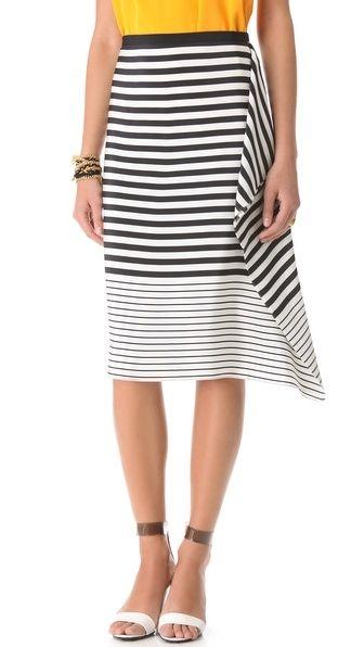 Stripe Draped Skirt