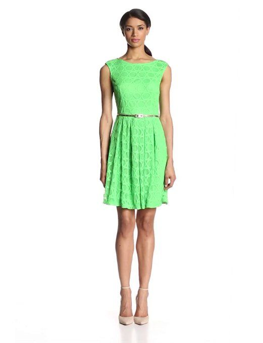 London Times Womens One Shoulder Lace Fit /& Flare Dress