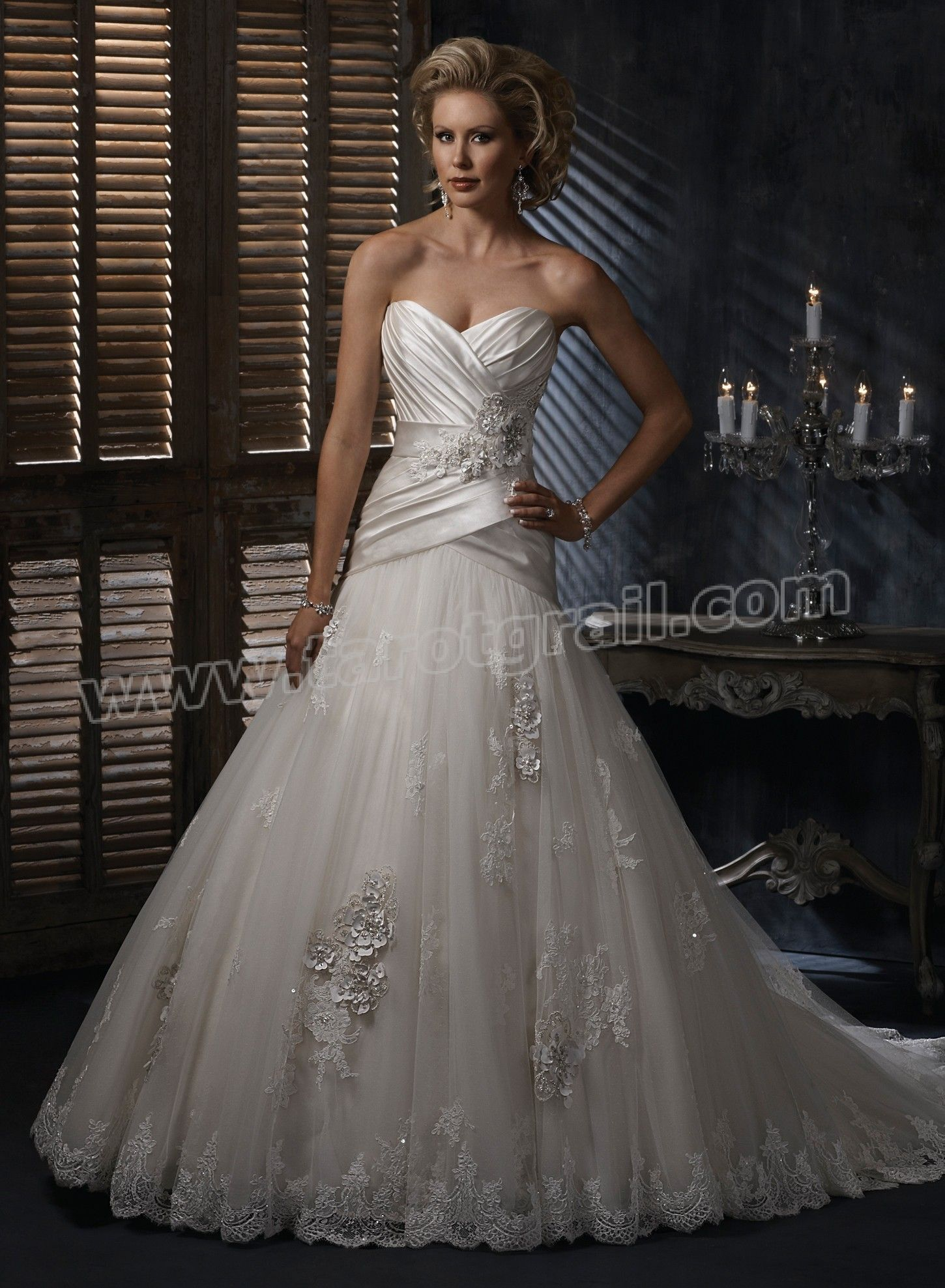 Satin sweetheart strapless neckline aline wedding dress a line