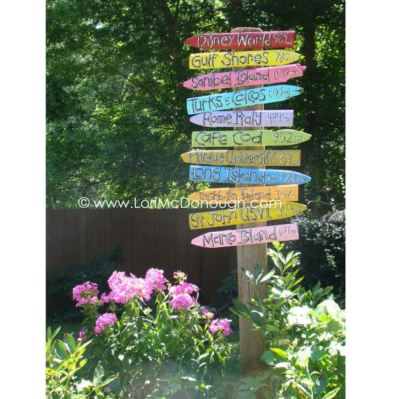 Favorite Places Directional Yard Sign Handlettered And