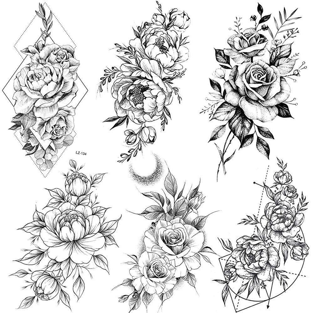 Photo of COKTAK 6 BläTter Groß Schwarz Rose Blume Temporäre Tattoos Frauen Körper Arm Beine Päonie Geometrisch Tattoo Aufkleber Gefälscht Wasserdicht Skizzieren Tätowierung Sexy Pfingstrose Temporary Tattoos