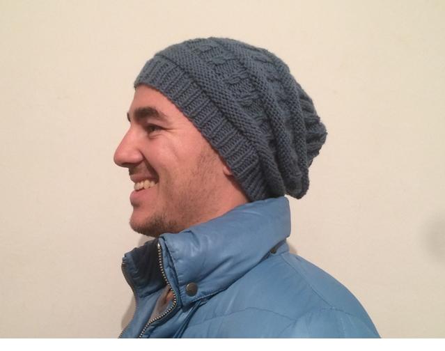 tricoter un bonnet tombant homme