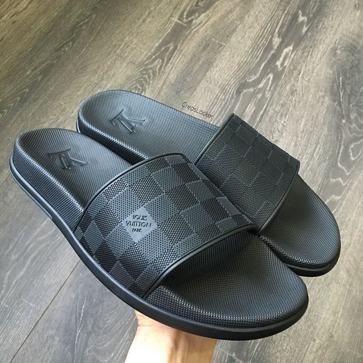 827a5760e3613 ... Louis Vuitton Black Slides 😍 EU43 UK9 In Stock and Ready to ship ✓ ✓  Who  Gucci Mens Sandals Flip Flop Black Textile Shoes UK 9 US 10 ...