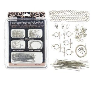 Necklace Findings Value Pack, Silver, 120pc