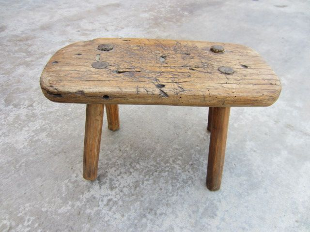 Superior Milking Bench Part - 4: French Antique Farm Stool Milking Stool Bench Primitive Antique .