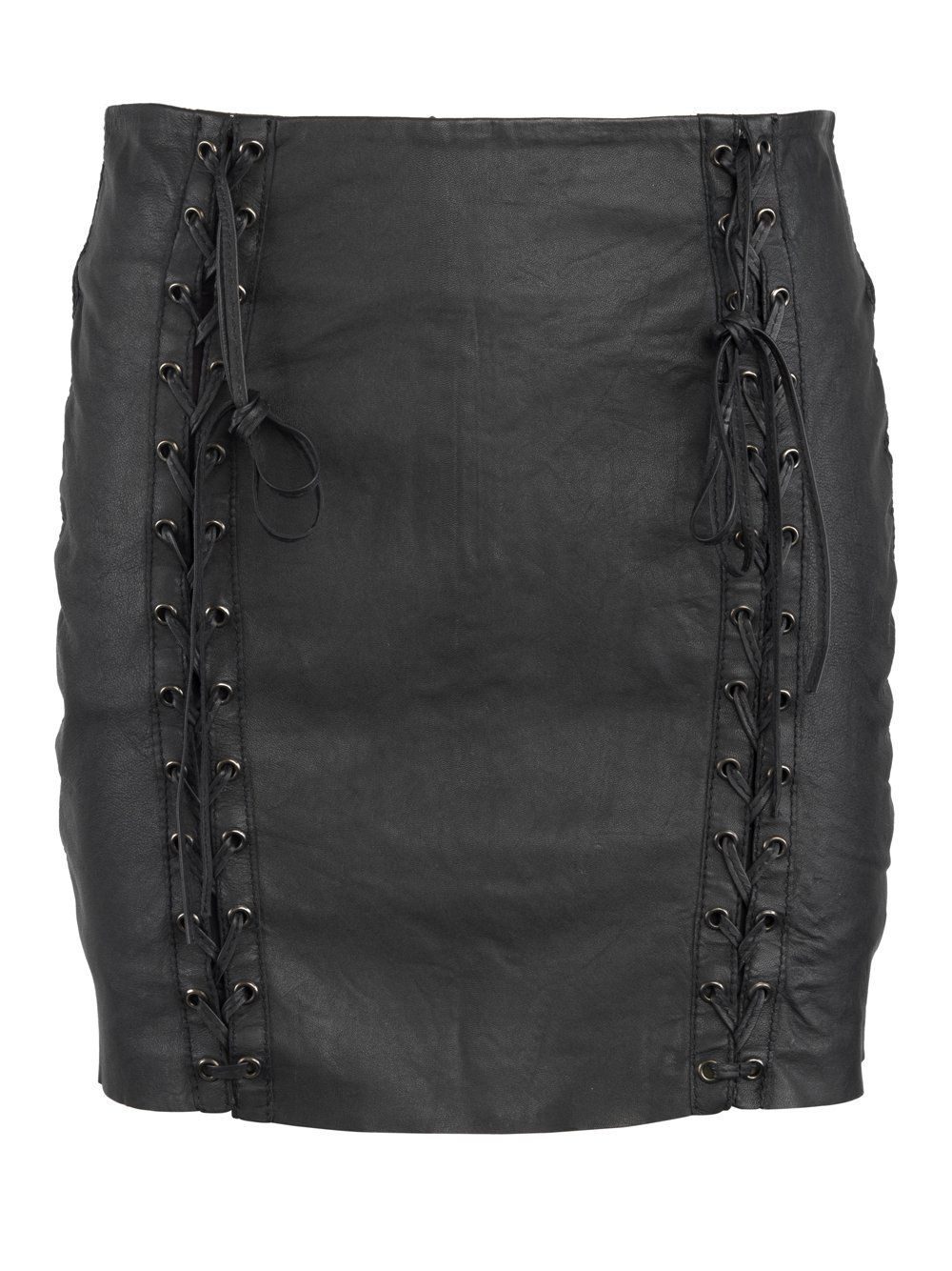 Muubaa Tsira Laced Leather Skirt in Black | All Things Leather ...
