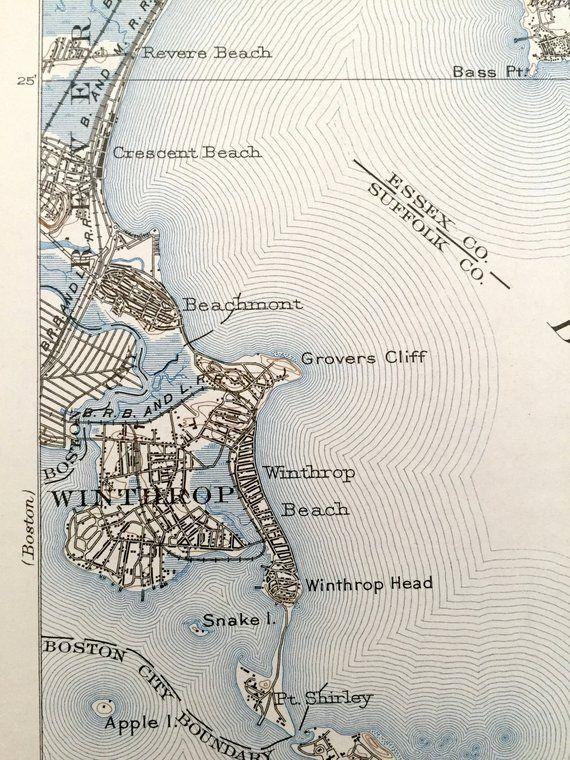 Topographic Map Massachusetts.Antique Boston Harbor Massachusetts 1903 Us Geological Survey
