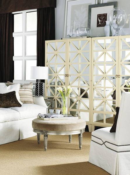 Living Room Mirrored Door Cabinet Nail Head Slip Covered