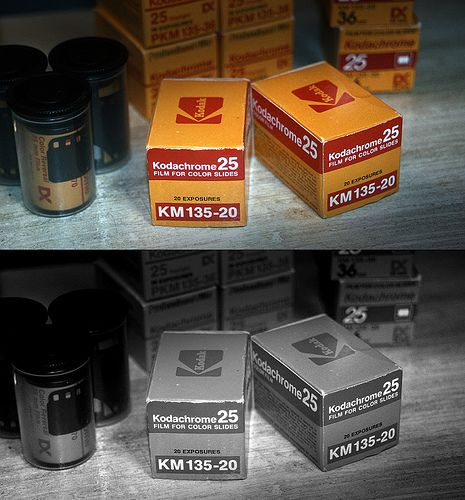 Developing kodachrome film with black and white chemicals