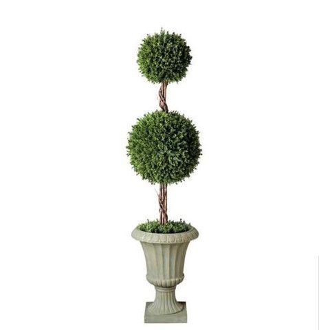 "Double Ball Topiary - Cedar Leaves - 32"" Tall"