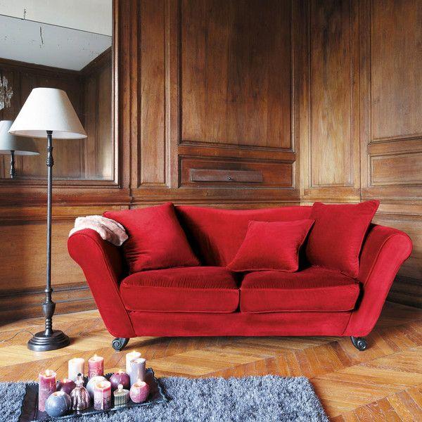 3 seater velvet sofa in red baroque
