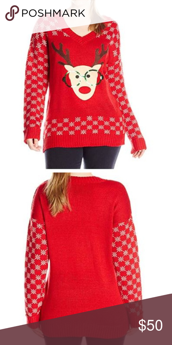 3e9e2482959 J. Plus-Size Nerdy Reindeer Ugly Christmas Sweater 100% Acrylic Imported  Machine Wash V-neck sweater featuring ribbed trim and reindeer graphic with  ...