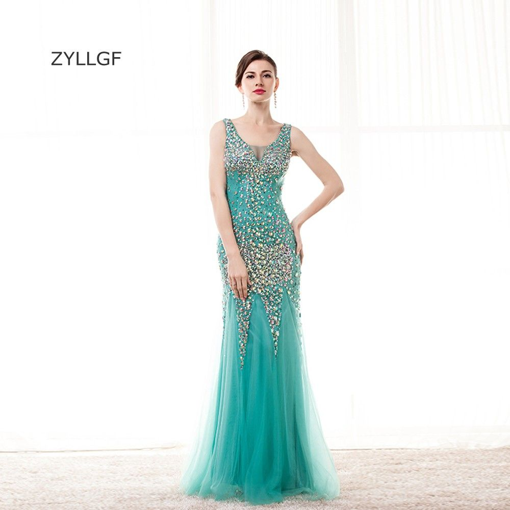 Mint green dress prom  ZYLLGF Sparkle Crystal Beaded Evening Gown Mermaid V Neck Sheer Back