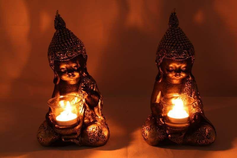 Set of 3 Stunning 20cm Buddha Figurines Ornament Statue Zen Buddhas