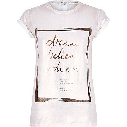 White dream foil print fitted t-shirt £18.00