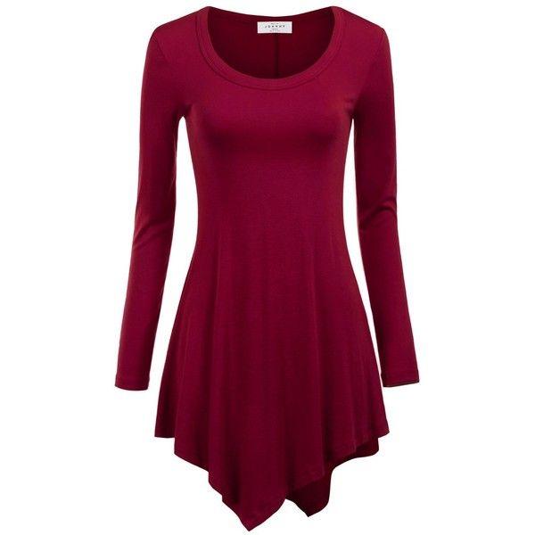 MBJ Womens Long Sleeve Handkerchief Hem Tunic Top (46 BRL) ❤ liked on Polyvore featuring tops, tunics, handkerchief hem tops, long sleeve tops, long sleeve tunic, purple tunic and purple top