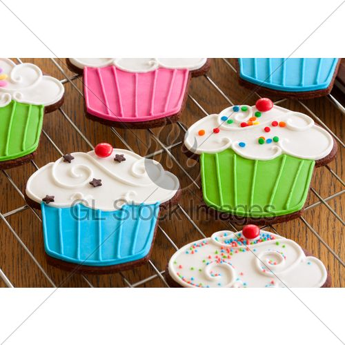 Cupcake Shaped Cookies With Colorful Frosting