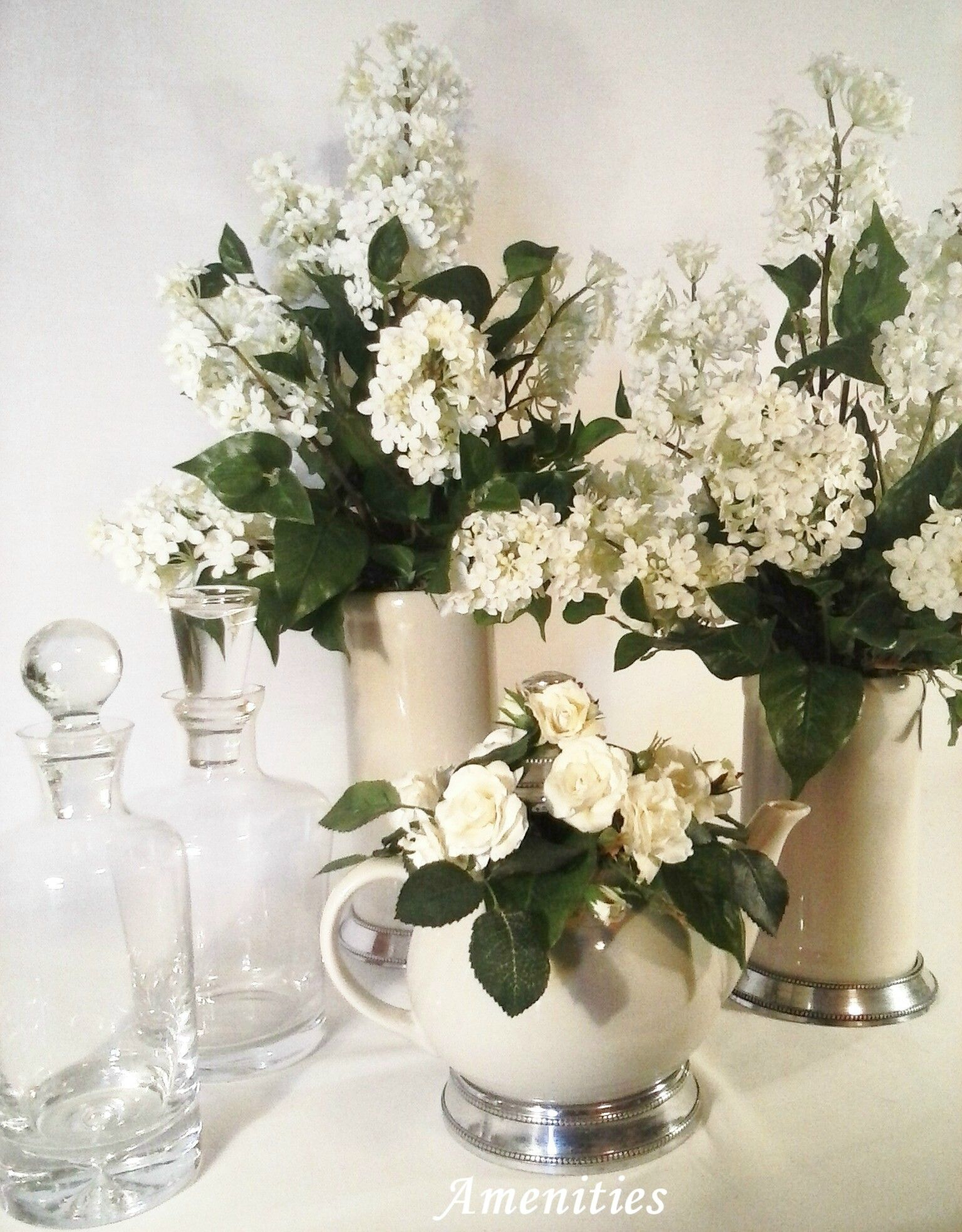 This Tabletop Display Shows How White Silk Flower Arrangements Can