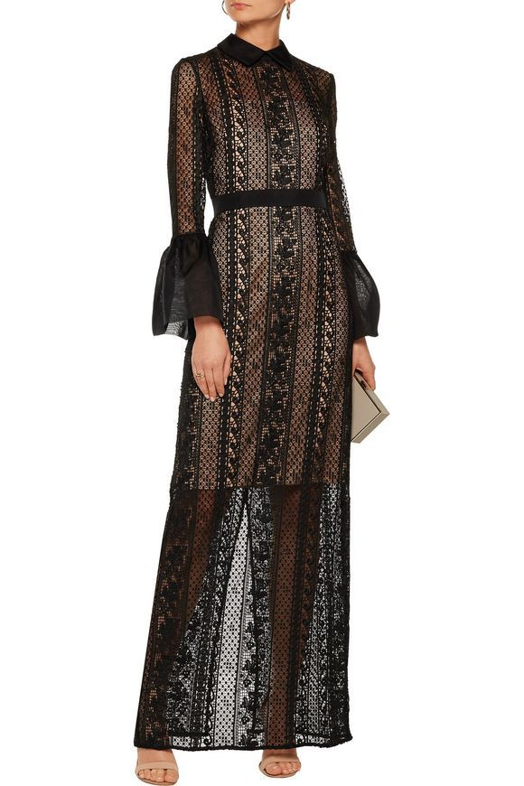 Organza-trimmed lace gown | MIKAEL AGHAL | Sale up to 70% off |