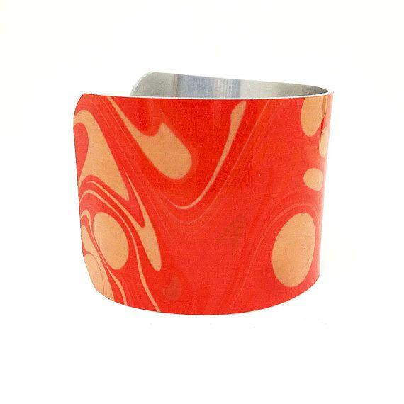 Bright Pink Bracelet - Aluminum Cuff Bracelet - French Art Jewellery - Painted Bangle - Ornamental Jewellery - Sku R13-007