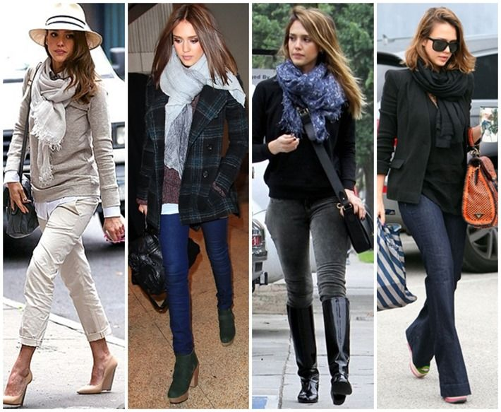 Jessica Alba, a fan of scarves just like I am