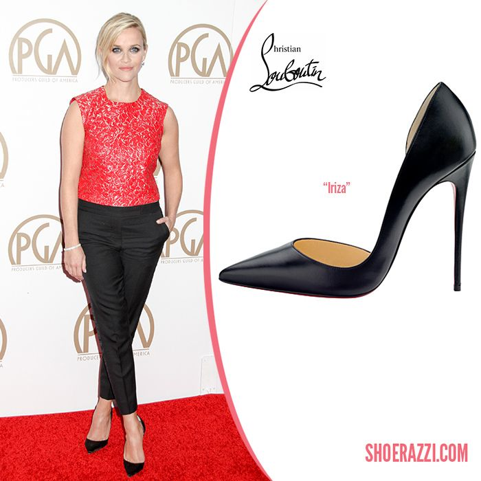 2bf214d6aacf Reese Witherspoon in Christian Louboutin Iriza Black Satin d Orsay Pumps -  ShoeRazzi