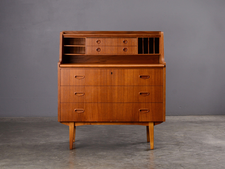 Mid Century Secretary Desk Teak Danish Modern Etsy Oval Table Dining Swedish Furniture Secretary Desks