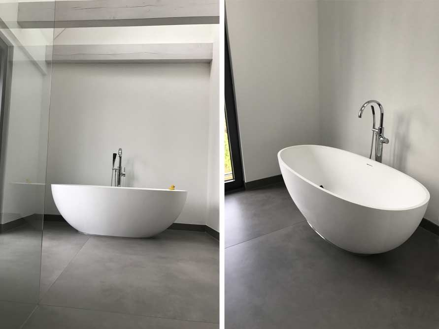 Freistehende Badewanne Piemont Medio Aus Mineralguss Weiss