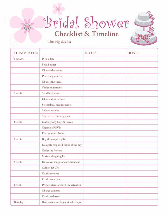 Image Result For Bridal Shower Planning Worksheet
