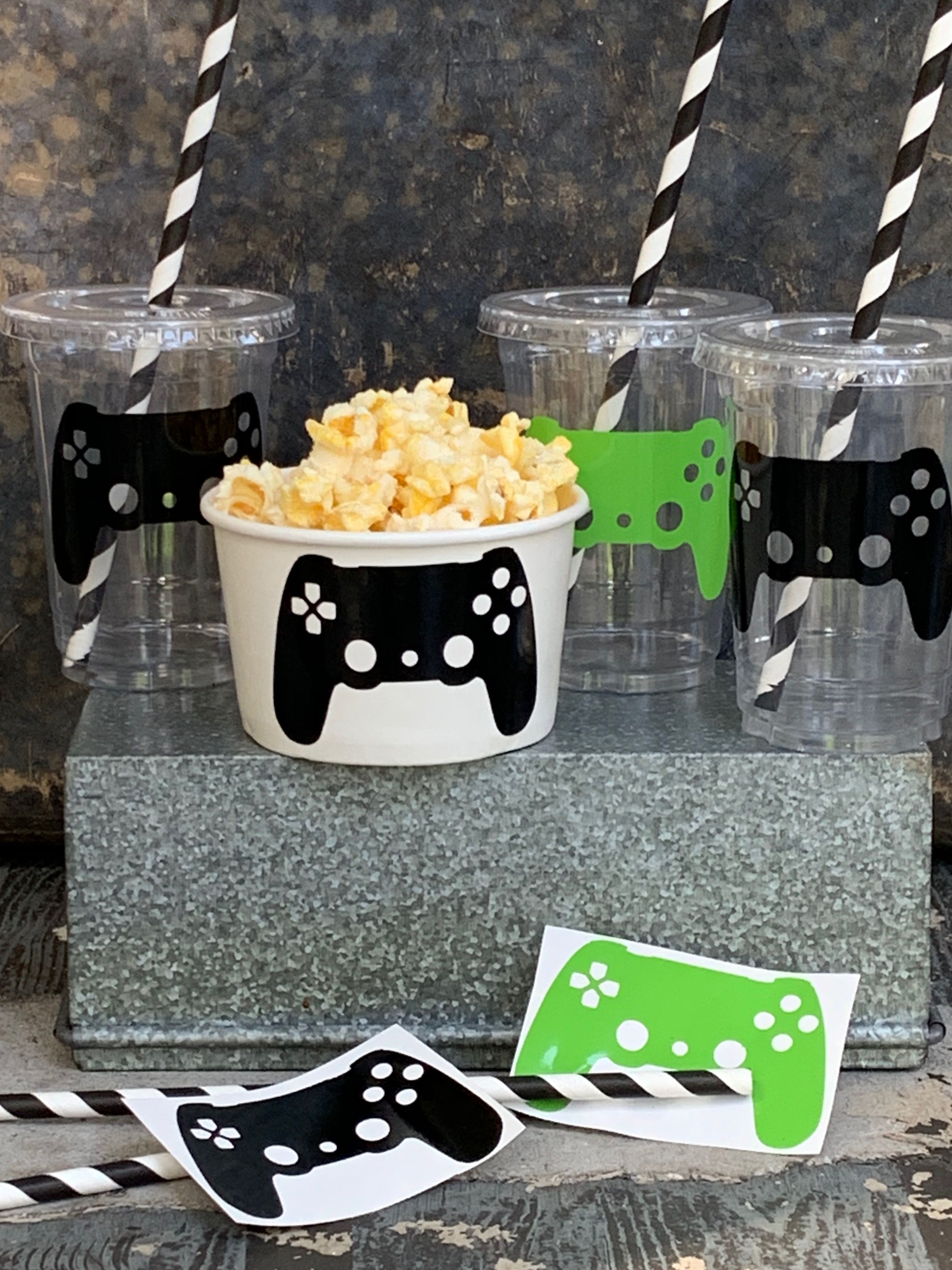 Video Game Birthday Party Cups With Lids And Straws Gamer