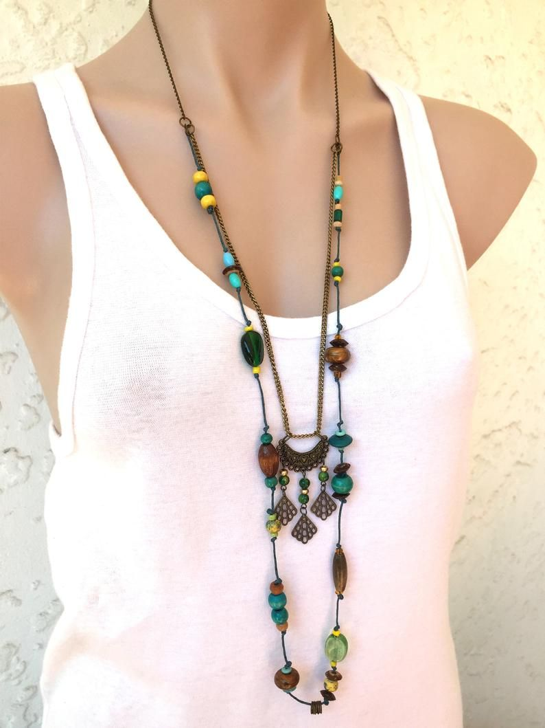Long Leather Purple Boho Pendant Handmade Leather Jewelry Leather Geometric Large Necklace Long Statement Necklace