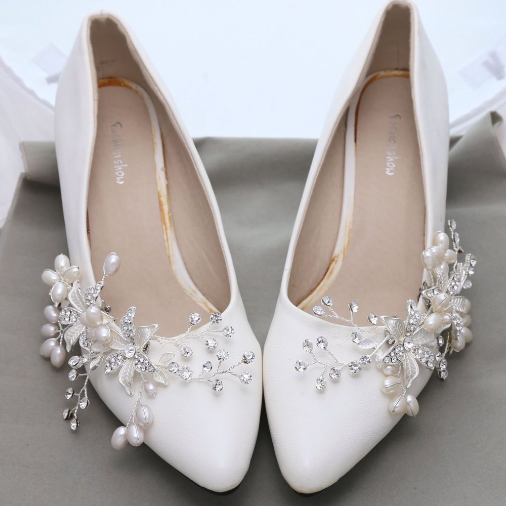 Flower Pearl Rhinestone Crystal Wedding Bridal Shoe Clips Pair