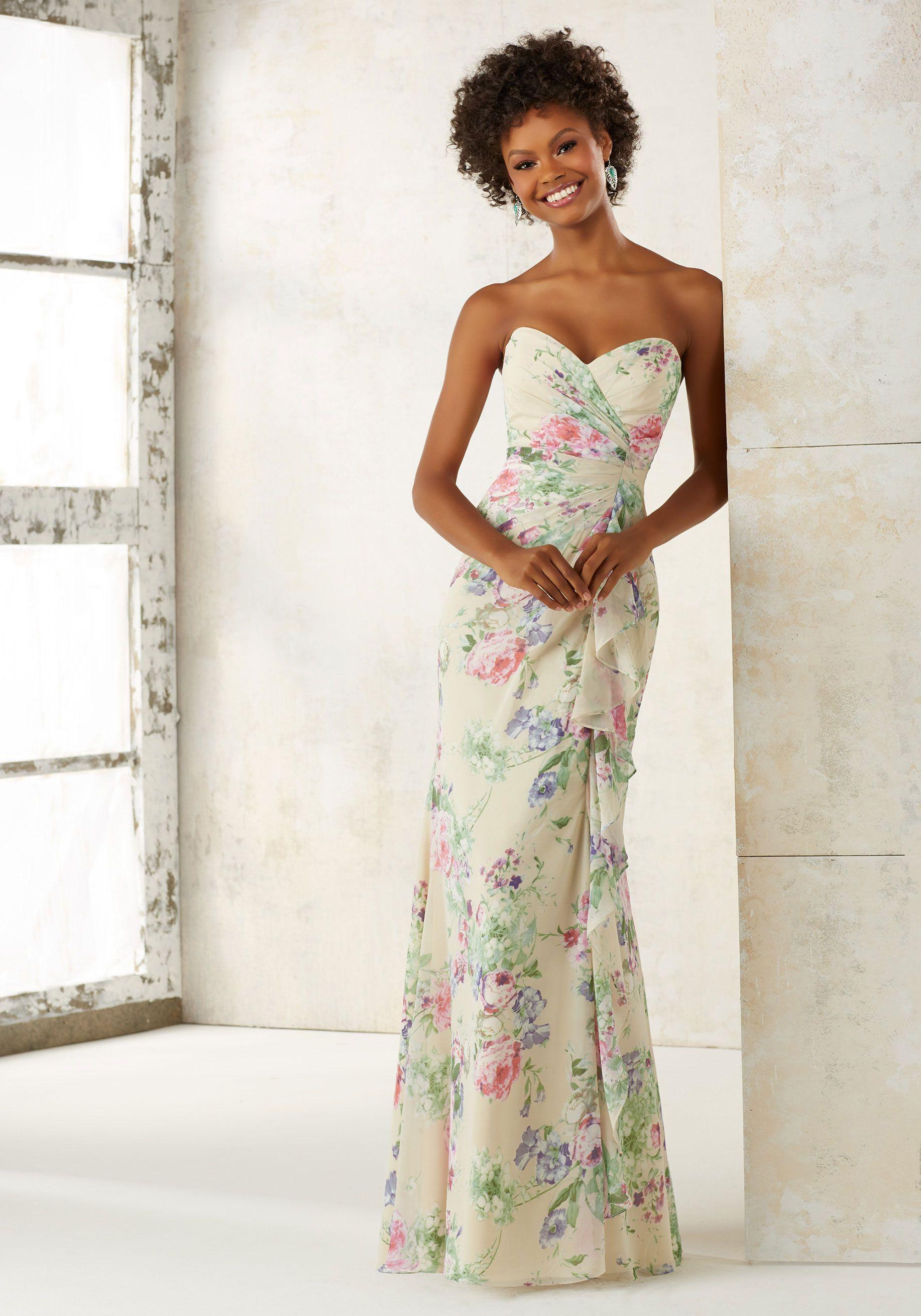 Morilee By Madeline Gardner Bridesmaids Style 21510 Strapless Chiffon Dress Sweetheart Neckline And An Asymetrically Ruched Waist