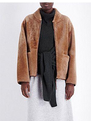 PRINGLE OF SCOTLAND Cocoon-style sheepskin jacket